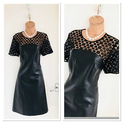 Beautiful VERO MODA Faux Leather/ Skater Dress With Crochet Upper Size Xl/ Uk 14