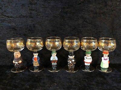 6 Antique Figural Wine Glasses Made In Germany (13)