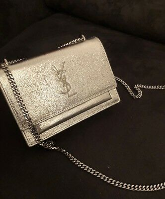 Authentic Yves Saint Laurent Ysl sunset silver chain bag leather monogram