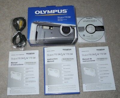 3 Owners Manuals, Box, RCA Cable & CD for Olympus Stylus 770 SW Digital Camera
