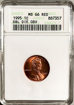 1995 1c Double Die Obverse Mint ERROR Lincoln 1c ANACS MS-66 RED