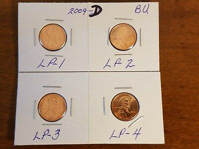 Complete Set Lincoln Bicentennial 2009 Cent Penny  D  From Bu Mint Rolls 4 Coins