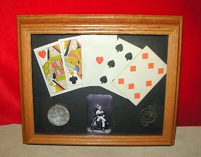 Antique Poker Card Display/Prostitute Tin Type/Condom Tin/Prescott Arizona Token