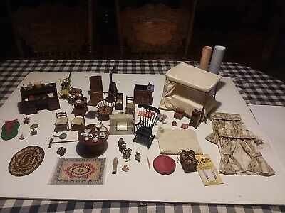 Nice Vintage Lot Of Dollhouse Furniture & Smalls Many Igma Signed Artisan Pieces