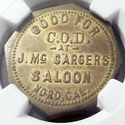 1880s California Token - McCarger's Saloon, Nord CA, MS62 NGC - Strahle Billiard