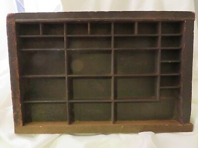 """Vintage Printer's Print Typesetter Trays/Drawers Shadow Box 16 3/4"""" by 11"""""""