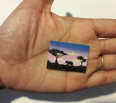 Original 1 x1.5 Inch Dollhouse Painting Elephant Wildlife  Picture Art HYMES