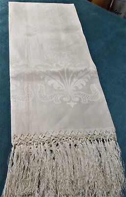 Antique Fringed Linen Damask Show Towel Drawnwork Thistles Never Used FREE SHIP