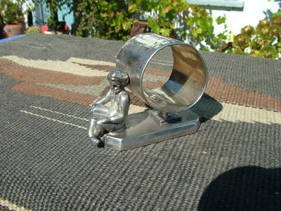 Victorian Simpson Hall Miller Figural Boy Reading Book Silverplate Napkin Ring