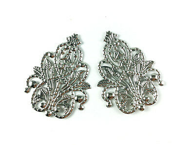 Antique Silver Plated Filigree Pendant Findings Q20 66284