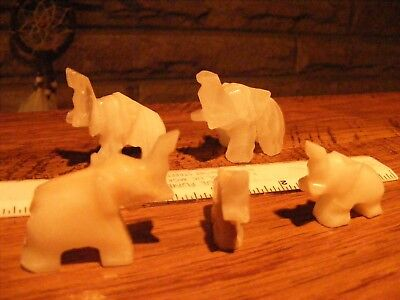ELEPHANTS (6) Onyx HAND CRAFTED FIGURES WITH TRUMPETS UP !!