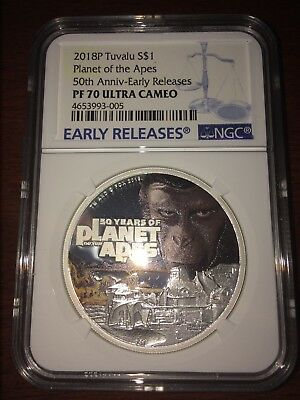 2018 Tuvalu Silver $1 - Planet Of The Apes - 50th Anniv - PF70 UC ER - NGC Coin