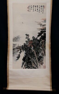 Excellent Long Rare Old Vintage Chinese Paper Hand Painting Landscape Mark KK295