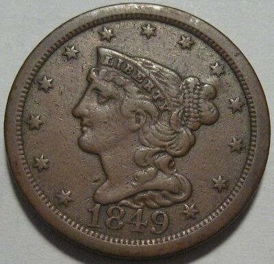 = 1849 VF+ Half Cent, Low Mintage 39K, Nice Details & EYE Appeal, FREE Shipping