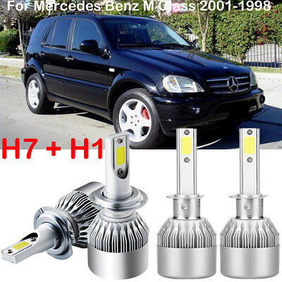 H1 H7 LED Headlight Kit Power Bulbs Replace For Mercedes-Benz M Class 2001-1998