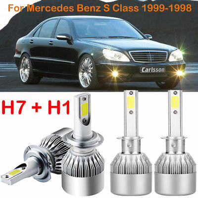 H1 H7 LED Headlight Kits Power Bulbs Replace For Mercedes-Benz S Class 1999-1998