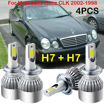 H7 LED Headlight Kits Power Bulbs 6000K Replace For Mercedes Benz CLK 2002-1998