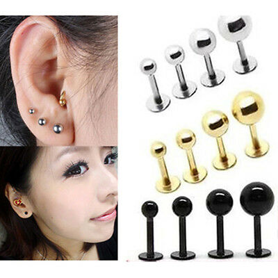 Stainless Steel Barbell Ear Cartilage Tragus Helix Stud Bar Earrings Piercing