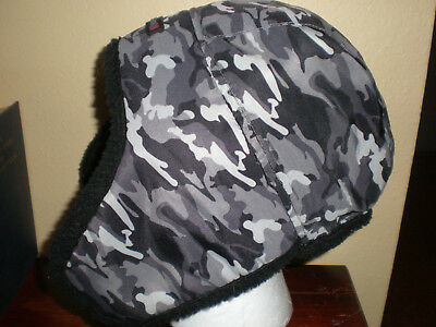 89356d9b68d (One Size) Swiss Tech Black Gray CAMOUFLAGE Trapper Bomber Hunt Fish Flaps  Hat