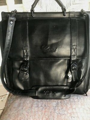 """Calise Attache Black Leather Laptop Business Professional Bag 17""""X15"""" With Strap"""
