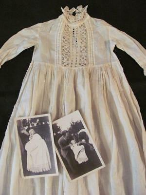 1890 Family Baby Christening Gown & 2 Antique Vintage Photos, Hand Cro-Tatt Lace