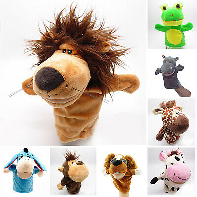 Animals Hand Glove Puppets Soft Plush Kids Pretend Cos Toys Role Play Mouth Open