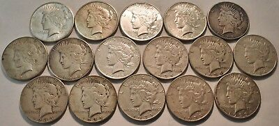 Lot (16) Better Date Peace Silver Dollars 1924 S 1925 S 1928 S 1934 S 1935 S $1