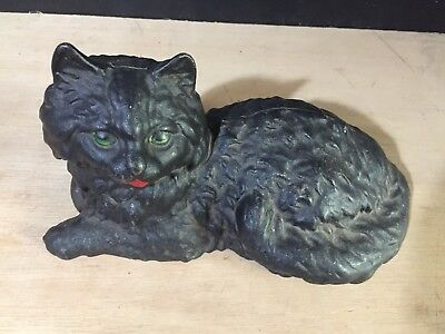 CAST IRON Victorian type Hubley mold Lounging CAT DOOR STOP STATUE ART fire side