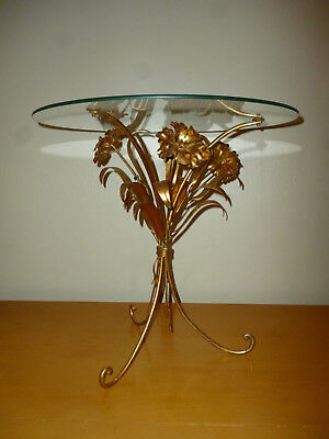 Vintage Tole Italian Gold Gilt Floral Glass Top Table Stand Italy Regency Modern
