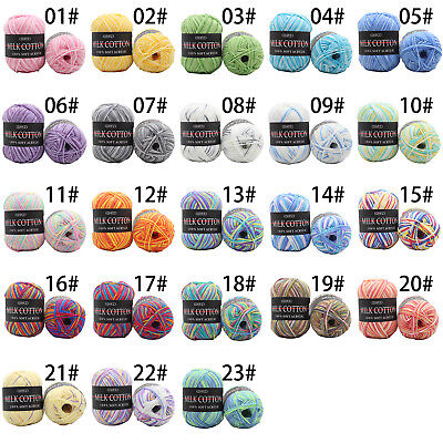 Chic 23 Colors Mixed Job Knitting Crochet Milk Super Soft Baby Cotton Wool Yarn