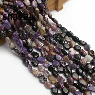 Natural Gemstone Freeform Genuine Charoite Beads for Jewelry Making 15'' 8-10mm