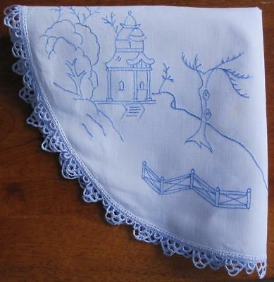 Hand Embroidered Vintage DOILEY: CHINA 'Willow Pattern'/ Crochet Edge