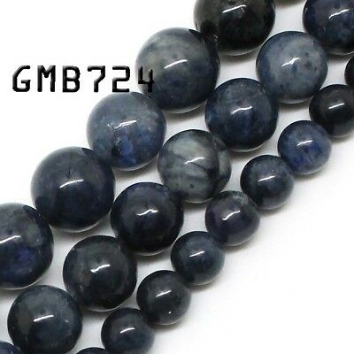Natural Blue Jasper Beads Round Loose Stone Beads for Jewelry Making 4-12mm 15''