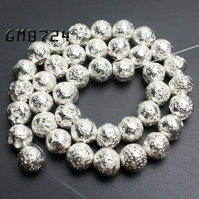 Natural Silver Lava Rock Stone Round Loose Spacer Beads for Jewelry Making 15''
