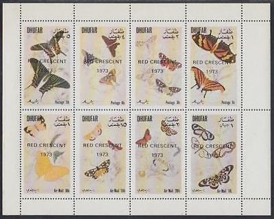 Butterfly MNH overprint M/S of 8 stamps 1973