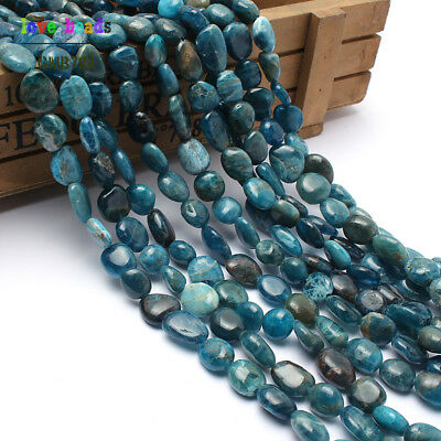 Natural Gemstone Freeform Blue Apatite Beads for Jewelry Making 8-10mm 15''