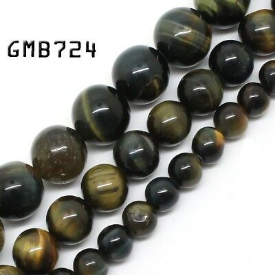 Natural Gemstone Blue Yellow Tiger Eye Beads for Jewelry Making Loose Beads 15''