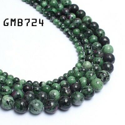 Natural Gemstone Genuine Red Green Ruby Zoisite Stone Beads for Jewelry Making