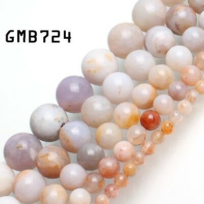 Natural Gemstone Ocean Fossils Agate Round Beads for Jewelry Making4/6/8/10/12mm