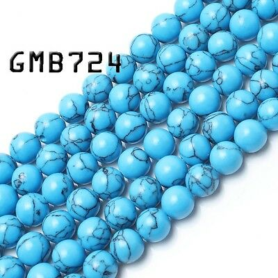"""Blue Turquoise Stone Beads for Jewelry Making 15"""" Wholesale Gemstone Loose Beads"""