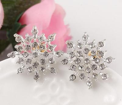 Silver Plated Snowflake Diamante Crystal Stud Earrings Rhinestone Sparkly Bling