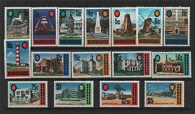 Barbados 1970/71 Definitives SG 399/414 MNH