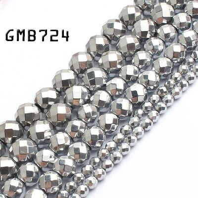 """Natural Hematite Faceted Silver Hematite Beads for Jewelry Making Loose Bead15"""""""