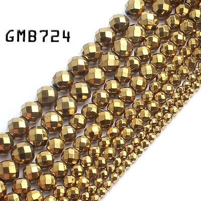 """Natural Stone Faceted Gold Hematite Gem Beads for Jewelry Making Spacer Bead15"""""""