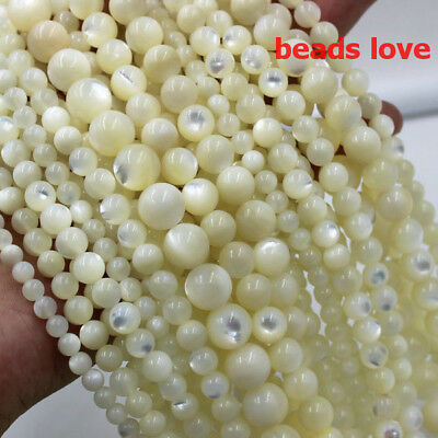 Natural White Mother Of Pearl Mop Round Loose Beads For Jewelry Making 15''