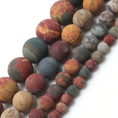 Natural Matte Picasso Jasper Beads for Jewelry Making Dull Polished Beads 15''