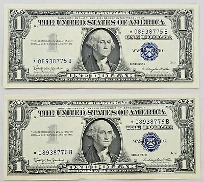 1957 B $1 * STAR NOTE Silver Certificates CONSECUTIVE NUMBERS Gem Quality