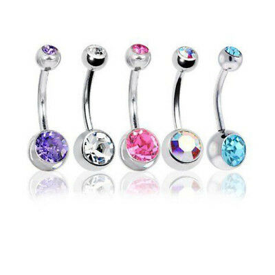 5 pcs Wholesale Crystal Rhinestone Double Belly Bar Rings Body Piercing 14G