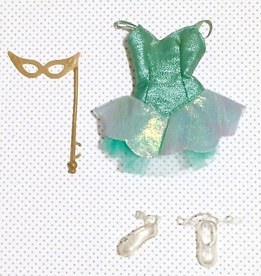 Barbie Doll Outfit - Sparkly Aqua Ballerina Ballet Masquerade Dress Tutu Shoes