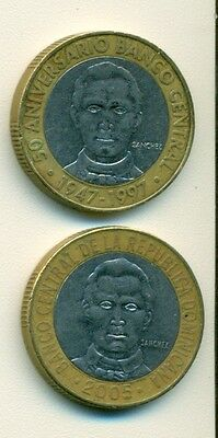 2 BI-METAL 5 PESO COINS from the DOMINICAN REPUBLIC - 1997 & 2005 (2 TYPES)